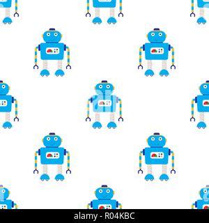 seamless pattern background with cartoon robots, vector illustration - Stock Photo
