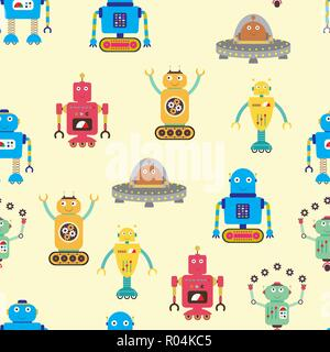 Seamless  pattern with robots,funny cartoon vector illustration - Stock Photo