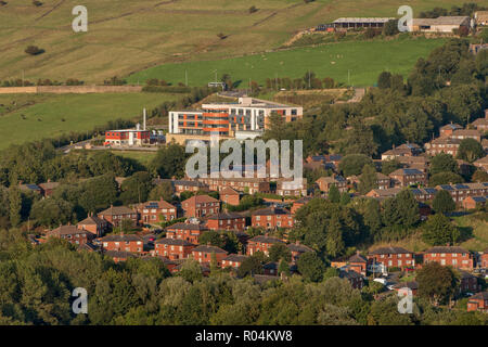 General view of houses around Mossley Hollins High School in Mossley, Greater Manchester - Stock Photo