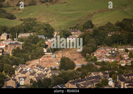 General view of residential houses being built in Mossley, Greater Manchester - Stock Photo