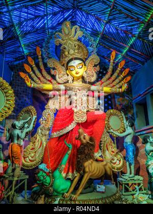 Sculpture of Hindu Goddess Durga during Durga Puja festival in October at Kolkata, Calcutta - Stock Photo