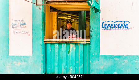 Meat stall in a typical street, Havana, Cuba, West Indies, Caribbean, Central America - Stock Photo