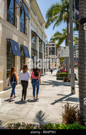 View of Rodeo Drive, Beverly Hills, Los Angeles, California, United States of America, North America - Stock Photo