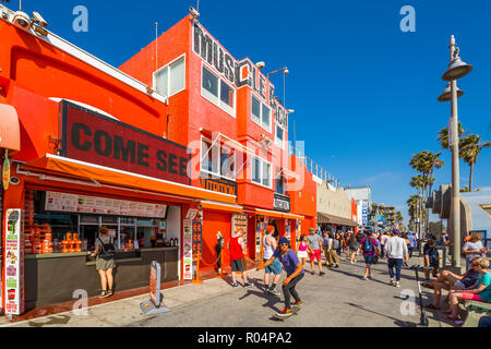 View of colourful shops on Ocean Front Walk in Venice Beach, Los Angeles, California, United States of America, North America - Stock Photo