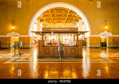 View of interior of Union Station, Los Angeles, California, United States of America, North America - Stock Photo