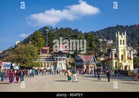 Christ Church, The Ridge, Shimla (Simla), Himachal Pradesh, India, Asia - Stock Photo