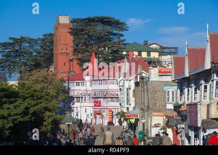 Half-timbered General Post Office, The Ridge, Shimla (Simla), Himachal Pradesh, India, Asia - Stock Photo