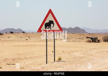 Elephant warning sign on the road, Namibia Africa - Stock Photo
