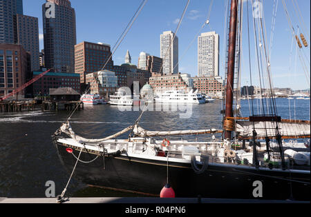 Adventure, a 1926, gaff rigged knockabout schooner, moored in Boston Harbour - Stock Photo