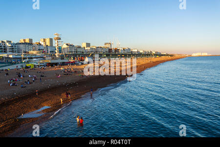 Brighton beach from Brighton Palace Pier, East Sussex, England, United Kingdom, Europe - Stock Photo