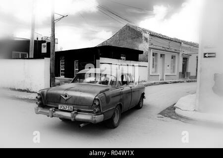 Street life in cuban town of Remedios, Villa Clara, Cuba. It is recognized as the eighth oldest city in Cuba. - Stock Photo