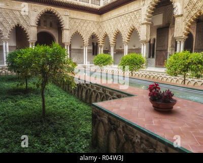 Courtyard, Real Alcazar (Royal Palace), UNESCO World Heritage Site, Seville, Andalucia, Spain, Europe - Stock Photo