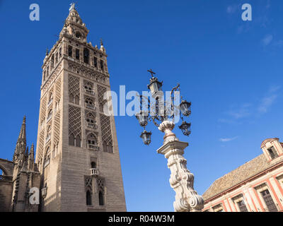 The Giralda (Bell Tower), Seville Cathedral, UNESCO World Heritage Site, Seville, Andalucia, Spain, Europe - Stock Photo