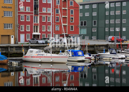 Forsenkaia Bryggene and Nidelva River, Trondheim City, Trondelag County, Norway, Scandinavia, Europe - Stock Photo