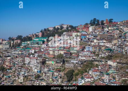 View of city center, Shimla (Simla), Himachal Pradesh, India, Asia - Stock Photo