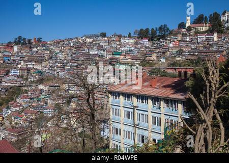 Terrace garden of Clarkes Hotel and city view, Shimla (Simla), Himachal Pradesh, India, Asia - Stock Photo
