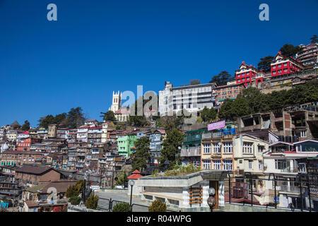 View over city looking towards Christ Church, Shimla (Simla), Himachal Pradesh, India, Asia - Stock Photo