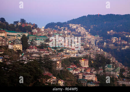View of city, Shimla (Simla), Himachal Pradesh, India, Asia - Stock Photo