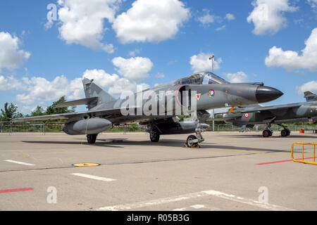FLORENNES, BELGIUM - JUL 6, 2008: French Navy Dassault Super Etendard fighter jet on the tarmac of Florennes airbase - Stock Photo