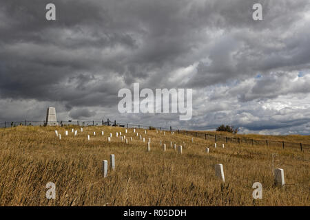 LITTLE BIG HORN, MONTANA, September 20, 2018 : Little Bighorn Battlefield National Monument. Monument is a memorial to those who fought in the battle  - Stock Photo