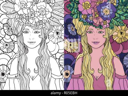 Illustration of fairy with long hair in elegant dress surrounded by primula flowers. Vector fantasy art in two varients: black and white and colored.  - Stock Photo