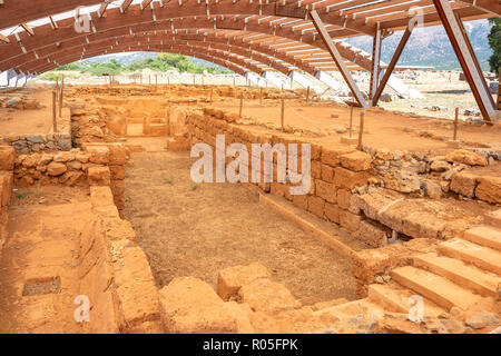 Archaeological site of the pillar crypt, Minoan Palace of Malia, Malia (Mallia), Irakleio Region, Crete (Kriti), Greece - Stock Photo