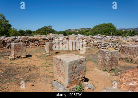 The Pillar Hall, Minoan Palace of Malia, Malia (Mallia), Irakleio Region, Crete (Kriti), Greece - Stock Photo
