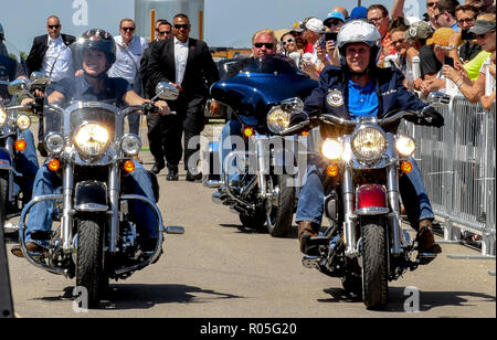 Boone Iowa, USA, June 3, 2017 Senator Joni Ernst Republican from Iowa (L) rides her motorcycle as she escorts United States Vice President Mike Pence (R) riding a Harley Davidson motorcycle into the Senator's 3rd annual Roast and Ride charity benefit at the Central Iowa Expo center i Credit: Mark Reinstein/MediaPunch - Stock Photo