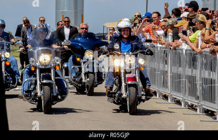 Boone Iowa, USA, June 3, 2017 Senator Joni Ernst Republican from Iowa (L) rides her motorcycle as she escorts United States Vice President Mike Pence (R) riding a Harley Davidson motorcycle into the Senator's 3rd annual Roast and Ride charity benefit at the Central Iowa Expo center Credit: Mark Reinstein/MediaPunch - Stock Photo