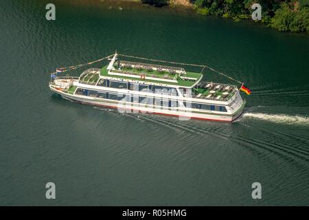 Aerial view, excursion ship MS Sorpesee on the Sorpesee near Amecke, Sundern, Sauerland, North Rhine-Westphalia, Germany, DEU, Europe, birds-eyes view - Stock Photo