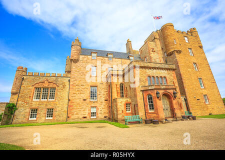 Barrogill castle near Thurso of the Highland in Scotland, United Kingdom. Castle of Mey popular landmark and famous touristic attraction. - Stock Photo
