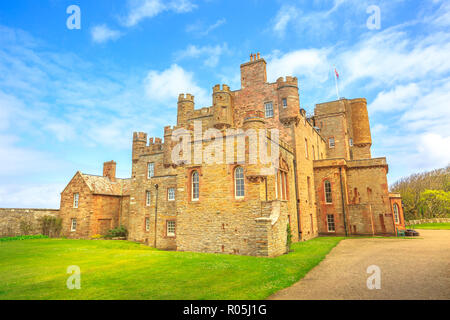 Barrogill castle of Mey of Thurso town of the north coast of the Highland in Scotland, United Kingdom. Castle of Mey is a popular landmark and famous touristic attraction. - Stock Photo
