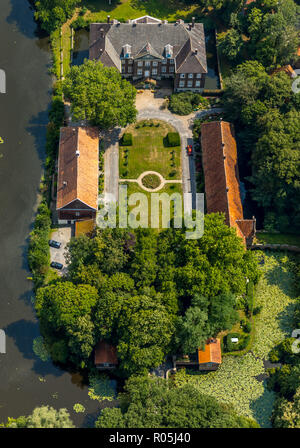 Aerial view, Castle Steinfurt house, moated castle, mill road, Werse, river, Grankenbrücke, Drensteinfurt, Münsterland, North Rhine-Westphalia, German - Stock Photo