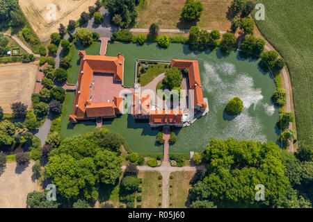 Air, Water castle Haus Borg, Altendorf, Mansion, Rinkerode, Drensteinfurt, Münsterland, North Rhine-Westphalia, Germany, Europe, DEU, birds-eyes view, - Stock Photo