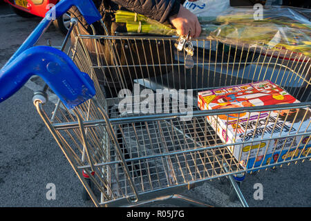 almost empty supermarket shopping trolley - Stock Photo