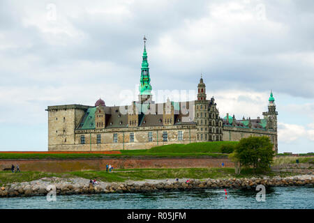 Kronborg Castle and fortification at Helsingor also known as Elsinore in eastern Denmark - Stock Photo