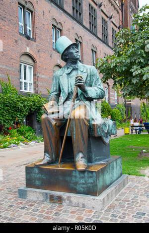 Hans Christian Anderson statue in downtown Copenhagen Denmark capital city - Stock Photo