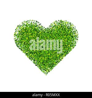 Green and yellow heart isolated on white background. St. Patrick's Day symbol.  Vector illustration,eps 10. - Stock Photo