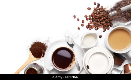 Variety types of coffee and ingredients over white background - Stock Photo