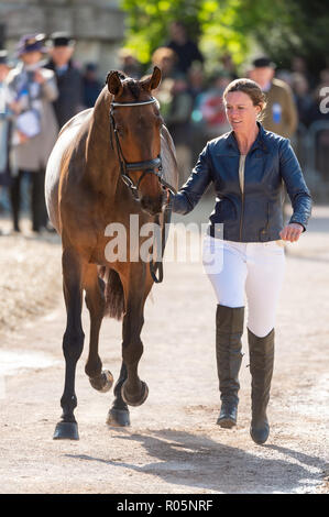 Lauren Kieffer and VERONICA during the vets inspection, Mitsubishi Motors Badminton Horse Trials, Badminton, Gloucestershire, 2018 - Stock Photo