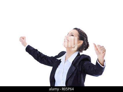 very happy business woman.isolated on white, photo with copy space - Stock Photo
