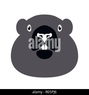 Groundhog Day. Concept National holiday in the USA and Canada. Vector illustration of the face of the animal groundhog. Simple drawing in gray tones. - Stock Photo
