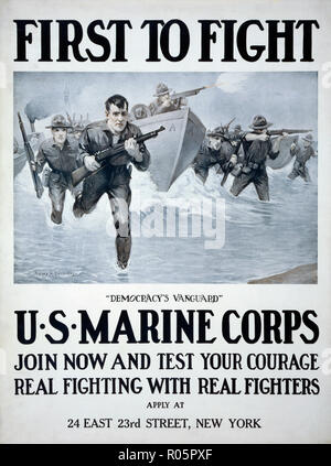 U.S. Marine Corps recruiting poster published 1917. After a work by illustrator Sidney H. Riesenberg, 1885-1971. - Stock Photo