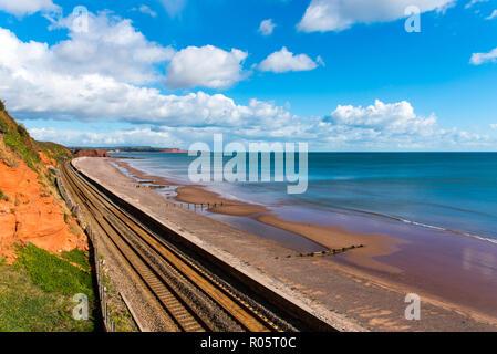 The Devon Main Railway Line near Dawlish. Loking North towards Langstone Rock. - Stock Photo