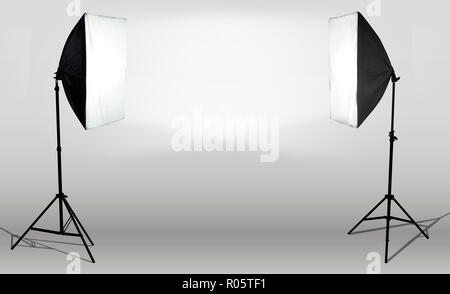 photostudio light canvas lamp two sides illuminate - Stock Photo