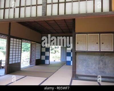 Interior view of a traditional Japanese tea-house; Katsura Imperial Villa, Kyoto, Japan - Stock Photo