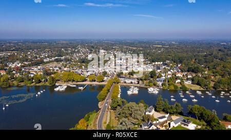 Aerial view of Suce sur Erdre in Loire Atlantique - Stock Photo