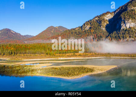 Inflow of the Isar into the Sylvenstein lake, Sylvenstein reservoir, drone image, Lenggries, Isarwinkel, Upper Bavaria, Bavaria - Stock Photo