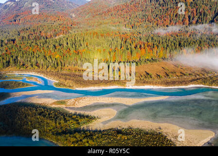 Isar, at the inflow into the Sylvenstein lake, drone image, Lenggries, Isarwinkel, Upper Bavaria, Bavaria, Germany - Stock Photo