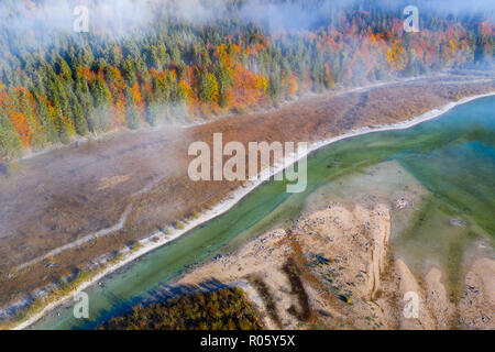 Isar, at the inflow into the Sylvenstein lake, Sylvenstein reservoir, drone image, Lenggries, Isarwinkel, Upper Bavaria, Bavaria - Stock Photo